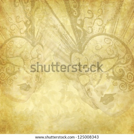 Golden vintage background with Venetian masks and floral elements - stock photo
