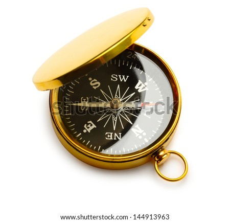 Golden vintage compass - stock photo