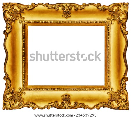 Golden vintage frame isolated on white background -Clipping path included - stock photo