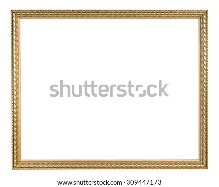 Golden vintage frame isolated on white background with clipping path - stock photo