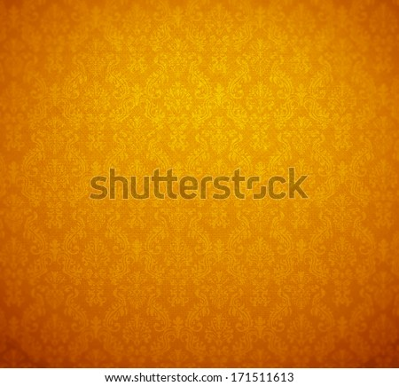 golden wallpaper; baroque style. - stock photo