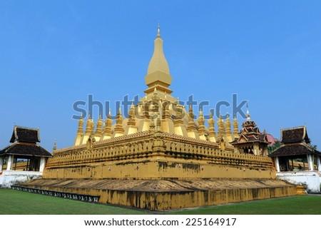 Golden Wat Thap Luang in Vientiane, Laos  - stock photo