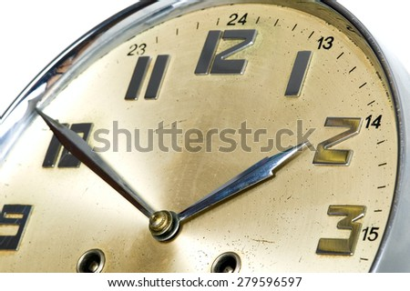 Golden watch is showing almost 2, isolated - stock photo