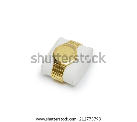 golden watch isolated on a white background  - stock photo