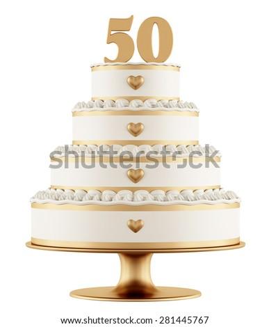 Golden wedding cake isolated on white background - 3D Rendering - stock photo