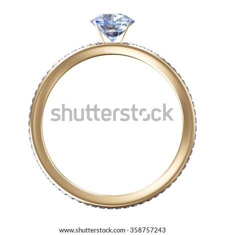 Golden Wedding Ring with Blue Diamonds isolated on white background - stock photo