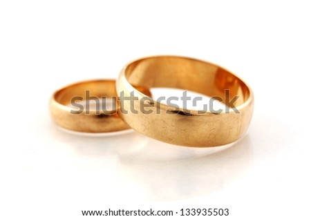 Golden wedding rings - stock photo