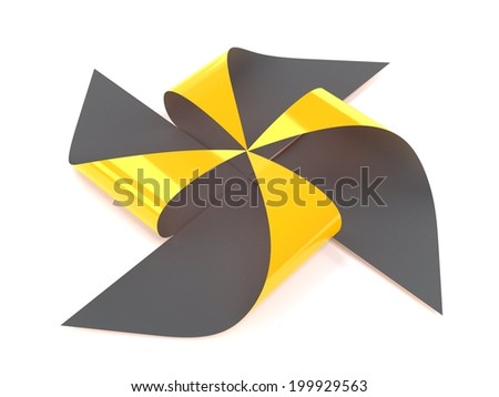 golden windmill paper on white background - stock photo