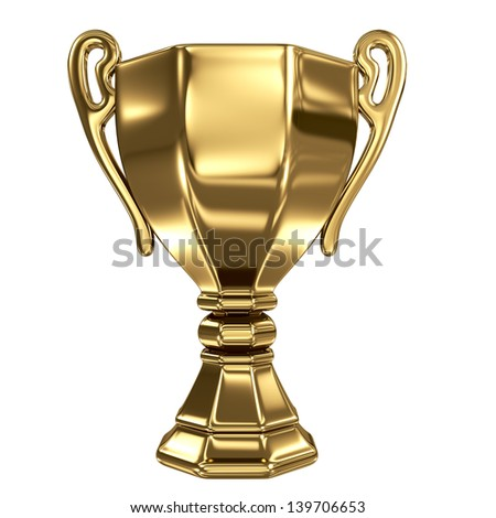 Golden winner cup isolated on white - stock photo
