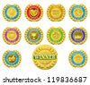 Golden winners medals like those used for product or consumer reviews or tests or for product descriptions - stock photo