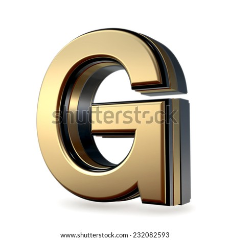 Golden with black rim high quality 3d render  font type letter G isolated on white , uppercase  - stock photo