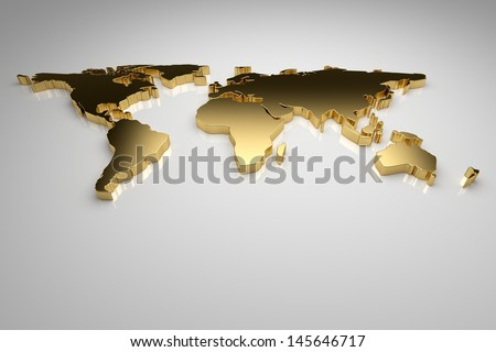 Golden world map on gray background, 3d render - stock photo