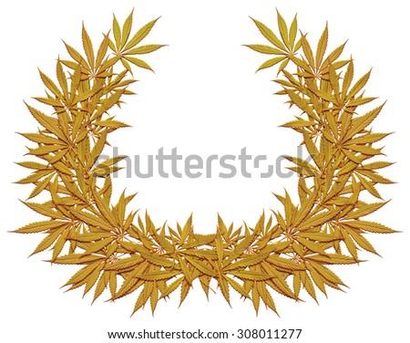 Golden wreath of cannabis - stock photo