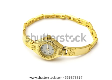 Golden wrist watch isolated on white background - stock photo