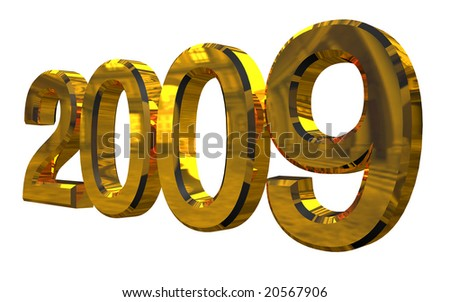Golden 2009 year 3d render isolated on white - stock photo