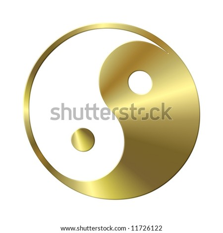 golden ying and yang - stock photo