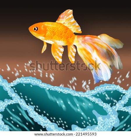 Goldfish jumping out of the sea water - stock photo