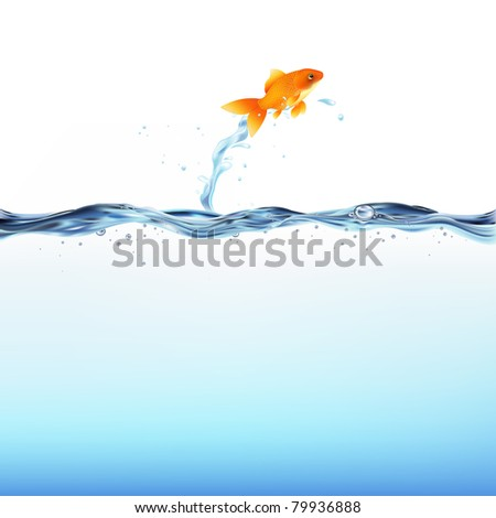 Goldfish Leaping Out Of Water, Isolated On White Background - stock photo