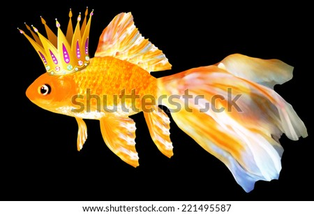 Goldfish with a crown on black background - stock photo