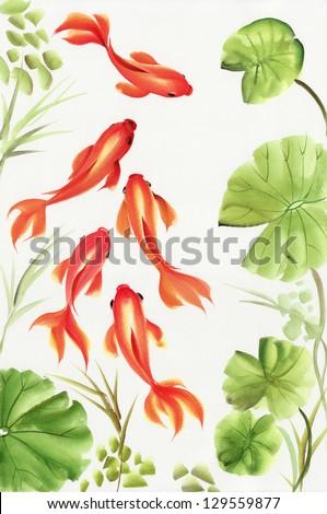 Goldfishes among the lotus leaves. Asian style original painting. - stock photo