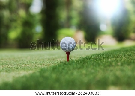 Golf and ball ready for tee off - stock photo