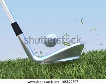 golf approach - stock photo
