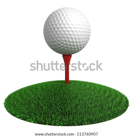 golf ball and red tee on green grass disc on white background. clipping path included - stock photo