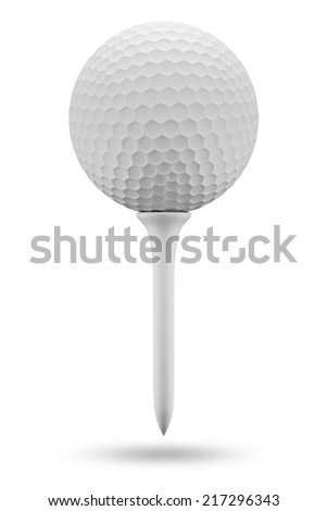 Golf ball and tee, isolated on white - stock photo