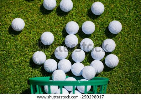 Golf ball  basket grass leisure activity - stock photo