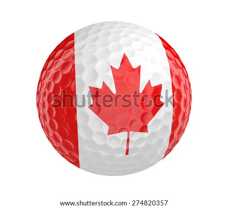 Golf ball 3D render with flag of Canada, isolated on white - stock photo