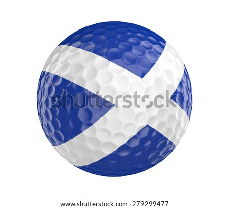 Golf ball 3D render with flag of Scotland, isolated on white - stock photo