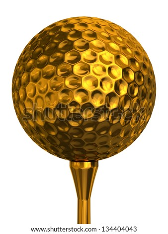 golf ball gold on golden tee isolated on white background. clipping  path included - stock photo