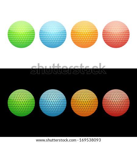 Golf Ball Icon.  Glossy Icon Set.  Raster version. - stock photo