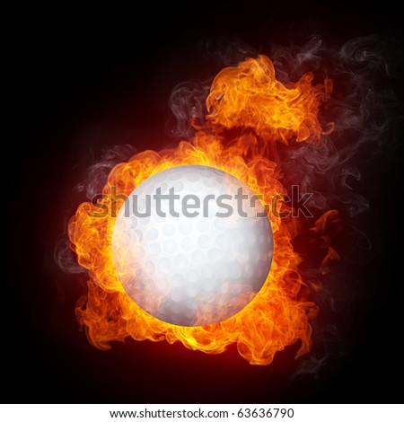 Golf Ball in fire isolated on black background - stock photo