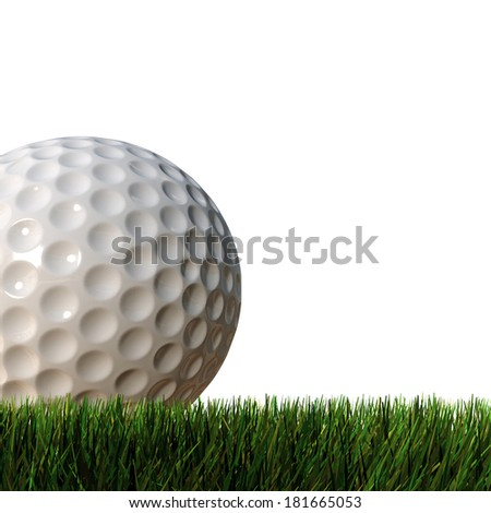 golf ball isolated on green grass - stock photo