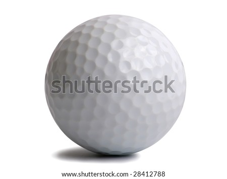 Golf ball isolated on white. - stock photo