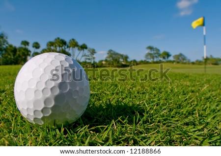 golf ball lies near green - stock photo