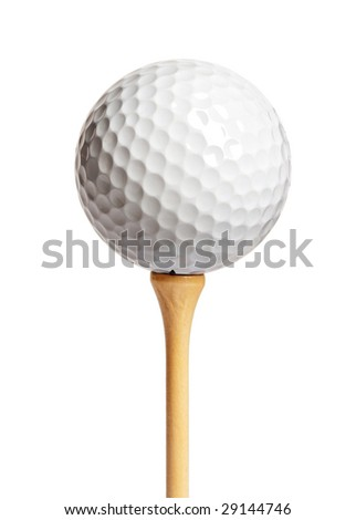 Golf ball on a tee isolated on white - stock photo