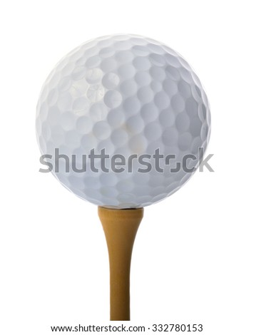 Golf ball on a tee isolated on white background - stock photo