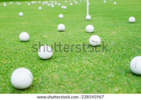 golf-ball on course - stock photo