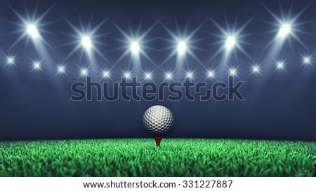 Golf ball on grass and spotlights , Golf tournament , Golf course - stock photo