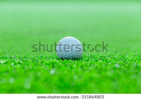 Golf ball on grass in golf course - stock photo
