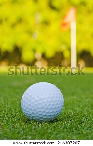 golf ball on green course - stock photo