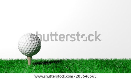 Golf ball on green turf isolated on white background  - stock photo