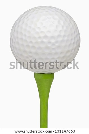 Golf ball on tee, isolated on white, includes clipping path - stock photo