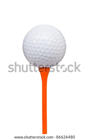 golf ball on tee isolated with clipping path - stock photo
