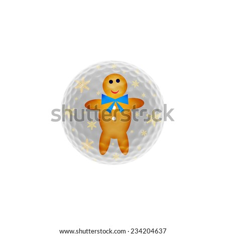 Golf-ball with a gingerbread man and golden snowflakes - christmas concept - stock photo