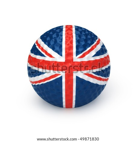 Golf ball with United Kingdom flag - stock photo