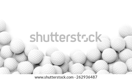 Golf balls pile with copy-space isolated on white background  - stock photo