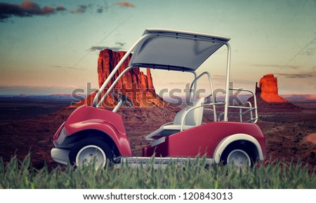 golf cart isolated in the desert - stock photo